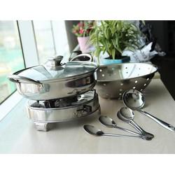 Bộ 9 Món Nhà Bếp Inox Nồi Lẩu, Thau, Bếp Cồn, Muỗng, Vá Cao Cấp