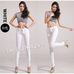 Quần jean trắng lưng cao 4 nút xinh xắn - Q189