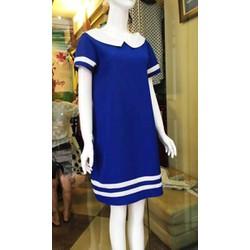 Đầm bầu voan xanh cổ sen trắng kiểu nữ sinh trẻ trung