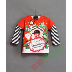 Áo thun tay dài phối sọc in ông già Noel mừng giáng sinh