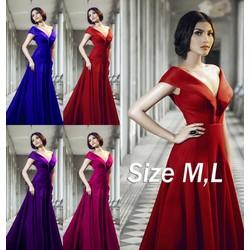 Đầm dạ hội Cổ bẹt V sang trọng quý phái- 4 màu