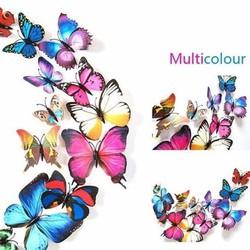 Set 12 bướm 3D sắc màu rực rỡ