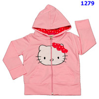 Áo khoác mèo kitty ấm áp cho bé đến trường