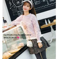 Áo len nhũ ánh kim vạt bèo Hàn Quốc