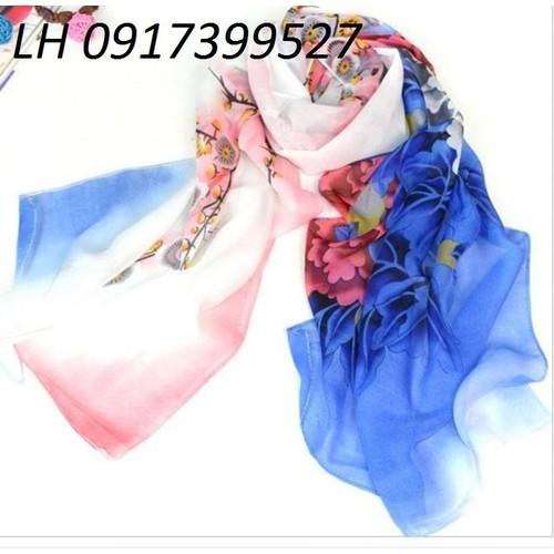 khăn choàng nữ, khăn choàng lụa công sở đi biển họa tiết mới L12287