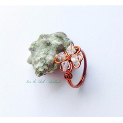Nhẫn dây đồng handmade thiết kế cỏ 4 lá
