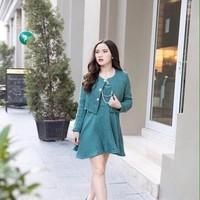 Đầm xòe công sở dài tay phối áo khoác lửng ngoài sành điệu DXV158