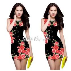 Đầm body đen in hoa hồng ngọc trinh - D1085