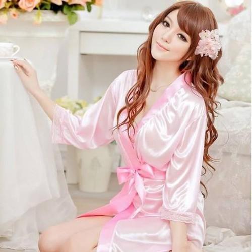 Áo choàng ngủ thun phi bóng hồng nhạt