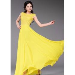 Đầm dạ hội ren phối voan cổ cạn SD538