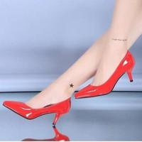 Giày zara bít da bóng 5cm-CGK73