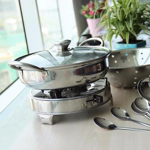 Bộ nồi lẩu, rổ, bếp cồn, muỗng, vá 11 món nhà bếp inox cao cấp