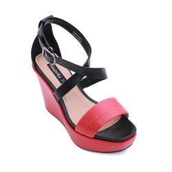 Giày xăng đan đế xuồng quai chéo màu đỏ 538