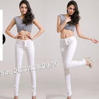 Quần jean trắng lưng cao 4 nút QD189