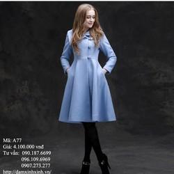 Áo khoác dạ xanh dương cho nàng thêm xinh - A77