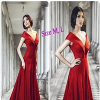 Đầm dạ hội bẹt vai xẻ chữ V sang trọng chất thun cao cấp DDH167