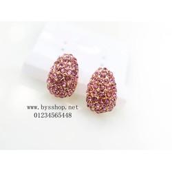 Bông tai thời trang đá hồng - BT204