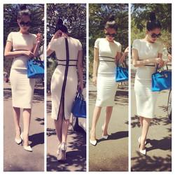 Đầm công sở thiết kế ôm body trắng viền đen