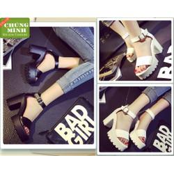 Giày sandal đế thô 1 quai ngang | giày sandal nữ cao gót