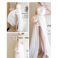 Shop đầm cưới -Đầm dạ hội cổ yếm xẻ đùi cao quyến rũ sang trọng