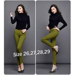 SALE Quần Skinny jean color block lưng cao 1 nút Qd191