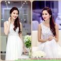 Shop đầm cưới -Đầm ren hoa lệch vai váy roan vũ thướt tha quyến rũ