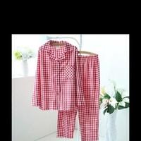 Sét bộ mặc nhà pyjama sọc caro đỏ sành điệu dễ thương NN373