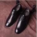 Giày tây nam cột dây kim loại đen