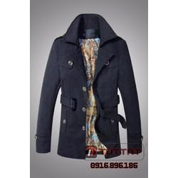 Áo măng tô dạ thời trang cao cấp TUTTAT 99009-0 màu đen