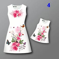 Đầm hoa mẹ và bé MB01 - Hồng đậm
