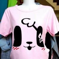 Áo thun hồng cún mặt cười