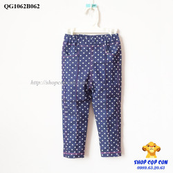 Quần tregging jean màu xanh chấm bi