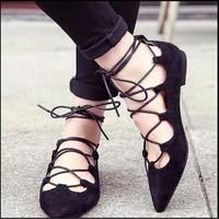 Giày búp bê bệt chiến binh cột dây
