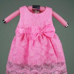 Đầm ren nổi hoa hồng xinh xắn cho bé cưng, 14-16kg