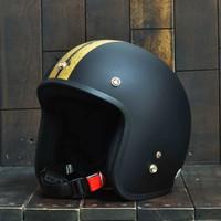 Mũ Bảo Hiểm Dammtrax Retro Đen.Vàng Nhám