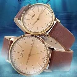 đồng hồ cặp JULIUS JU1005 Da nâu cao cấp phong cách cổ điển