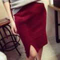 Váy dệt kim nữ thời trang, thiết kế xẻ vạt, thuần màu trẻ trung