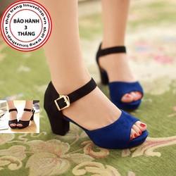 Giày sandal cao gót nữ gót vuông quai ngang - LN896