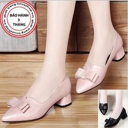 Giày gót vuông nữ nơ cao cấp - LN914