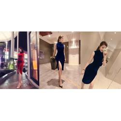 Đầm Nhung Xẻ Lai Sang Trọng - S180 - Size M