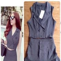Set áo vest croptop và Chân váy xòe phối viền xinh đẹp SAV20