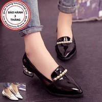 Giày gót vuông Viền Ngọc Trai - LN943