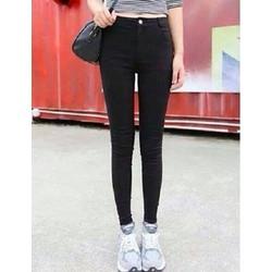 Quần jean đen lưng cao 1 nút 2 túi trước - Q75