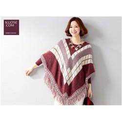 Khăn áo choàng phong cách châu âu- có ống tay, len dày ấm