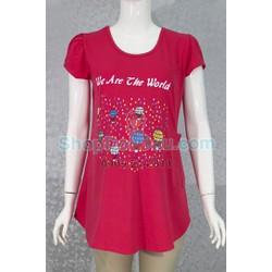 Áo bầu cổ tròn - thun cotton - co giản