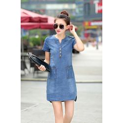 Đầm Jean Có Size XL: Đầm Jean Phối Túi Cổ Trụ Wash Xanh Nhạt