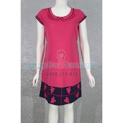 Đầm bầu cổ sen - viền chân - vải