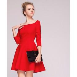 Đầm xòe tay lỡ cổ vuông thời trang màu đỏ, đen