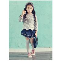 Bộ Croptop áo ren váy jean xinh xắn HB307