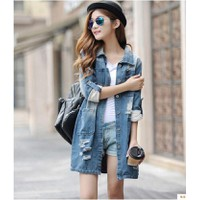 Áo Khoác Jeans Nữ Dáng Dài